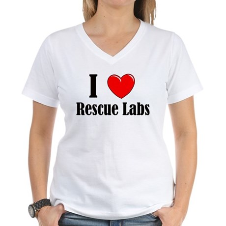 I Love Rescue Labradors Women's V-Neck T-Shirt