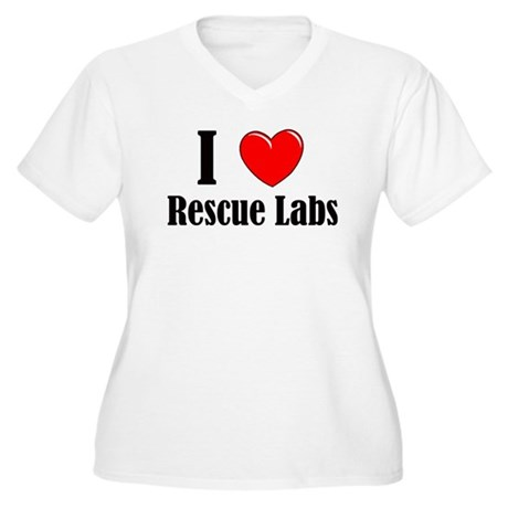 I Love Rescue Labradors Women's Plus Size V-Neck T