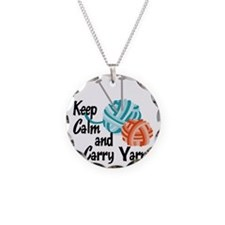 Keep Calm and Carry Yarn Necklace Circle Charm