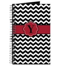 Black Red Chevron Monogram Journal