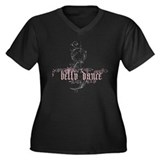 Belly Dance Women's Plus Size V-Neck Dark T-Shirt
