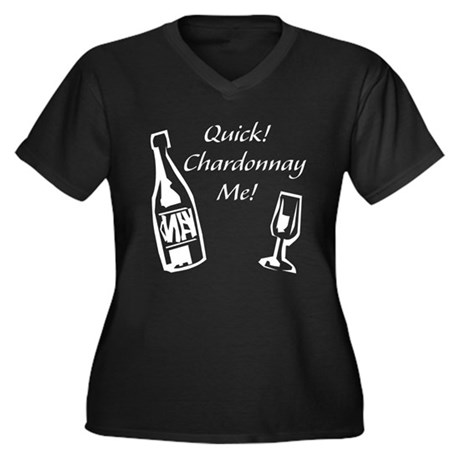 Chardonnay Me Women's Plus Size V-Neck Dark T-Shir