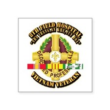 8th Field Hospital w SVC Ribbon Square Sticker 3""
