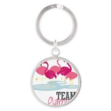 Team Flamingo Round Keychain