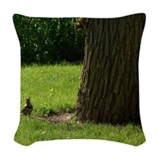 Flicker and Squirrel Conversat Woven Throw Pillow