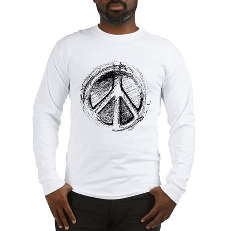 Urban Peace Sign Sketch Men's Long Sleeve T-Shirt