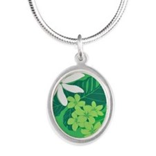 Hawaiian Prints Silver Oval Necklace