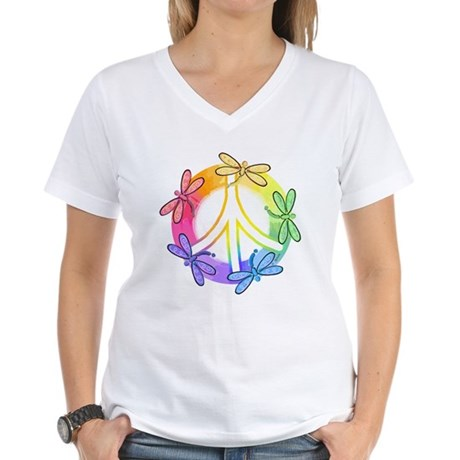 Dragonfly Peace Sign Women's V-Neck T-Shirt