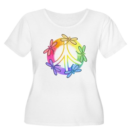 Dragonfly Peace Sign Women's Plus Size Scoop Neck