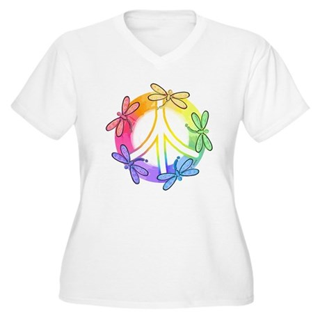 Dragonfly Peace Sign Women's Plus Size V-Neck T-Sh