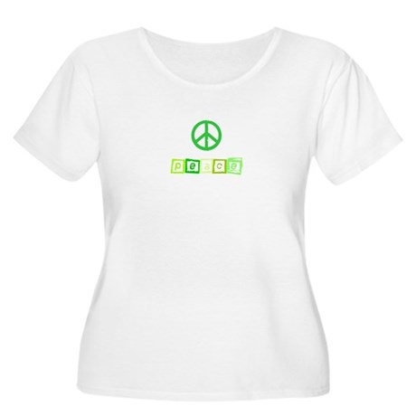 Greeen Peace Sign Women's Plus Size Scoop Neck T-S