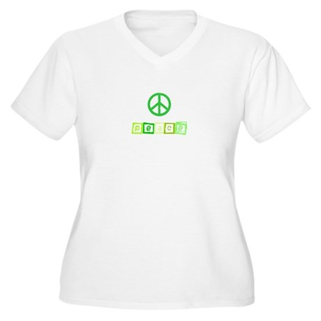 Greeen Peace Sign Women's Plus Size V-Neck T-Shirt