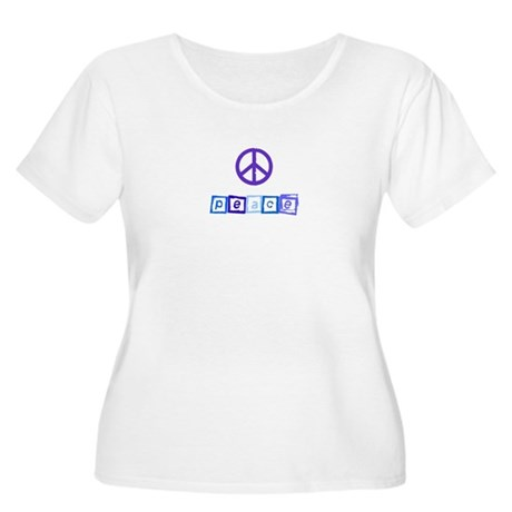 Blue Peace Sign Women's Plus Size Scoop Neck T-Shi