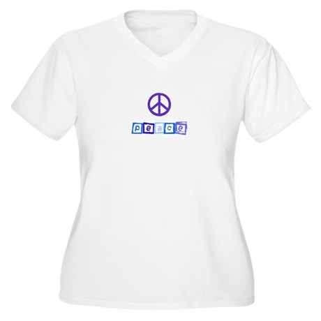 Blue Peace Sign Women's Plus Size V-Neck T-Shirt