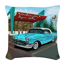 1957 Classic Car-Car Hop Pin-u Woven Throw Pillow