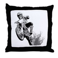 Dirtbike Wheeling in Mud Throw Pillow