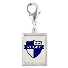 Rugby Shield White Blue Silver Portrait Charm