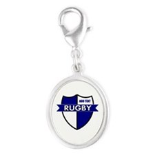 Rugby Shield White Blue Silver Oval Charm