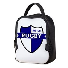 Rugby Shield White Blue Neoprene Lunch Bag