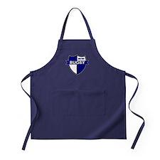 Rugby Shield White Blue Apron (dark)