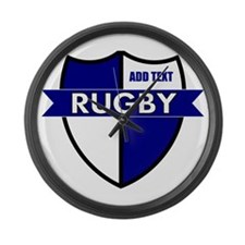 Rugby Shield White Blue Large Wall Clock