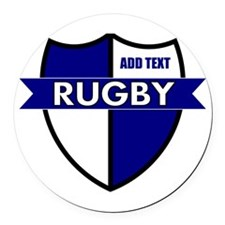 Rugby Shield White Blue Round Car Magnet