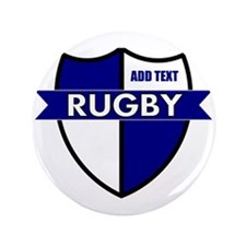"Rugby Shield White Blue 3.5"" Button"