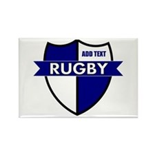 Rugby Shield White Blue Rectangle Magnet