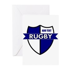 Rugby Shield White Blue Greeting Cards (Pk of 20)