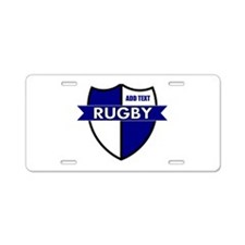 Rugby Shield White Blue Aluminum License Plate