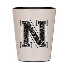 Letter N in black vintage look Shot Glass