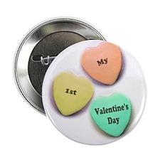 """Babys 1st Valentines Day 2.25"""" Button"""