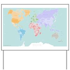 World Map - Modern Design Yard Sign