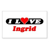 I Love Ingrid Rectangle Bumper Stickers