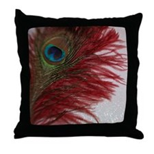 Peacock with Red Throw Pillow