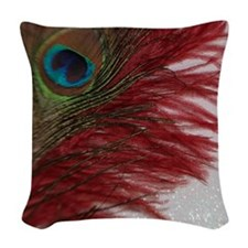 Peacock with Red Woven Throw Pillow
