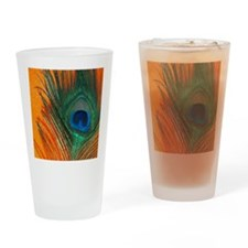 peacock with sparkly orange Drinking Glass