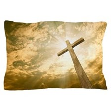 Stock Photo: cross against the sky Pillow Case