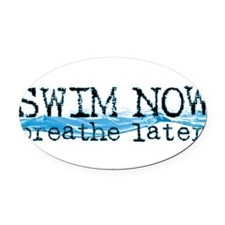 Cute Swimmer Oval Car Magnet