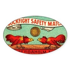Antique Swedish Cockfight Matchbox  Decal