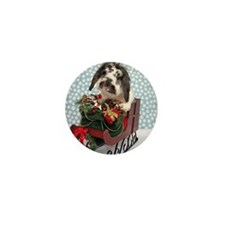 Dudley in Winter Sleigh Mini Button
