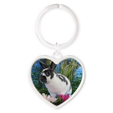 Buttercup Bunny on Lily Pads-2 Heart Keychain