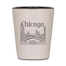Chicago_10x10_ChicagoBeanSkylineV1_Blac Shot Glass