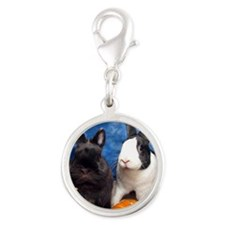Tiny Tim and Dixie in Pumpkin  Silver Round Charm
