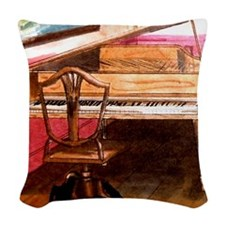 Federal Style Piano and chair Woven Throw Pillow