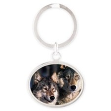 two wolf Oval Keychain