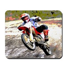 Dirt bike wheeling in mud Mousepad