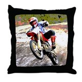 Dirt bike wheeling in mud Throw Pillow