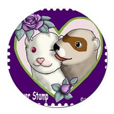 Ferret Stamp Round Car Magnet