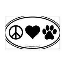 Peace Love Paws Black Rectangle Car Magnet